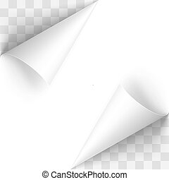 Paper Curl - Curled White Papers Corners with Transparent...