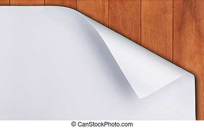 paper curl on wood background - White paper with corner curl...