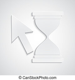 Paper cursor with hourglass