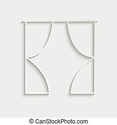 paper curtain vector icon black sign