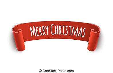 Paper curved label with merry christmas sign. Isolated vector illustration of christmas red tag decoration