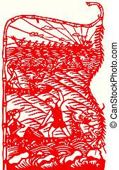 paper-cut, レース, ボート, 中国のドラゴン