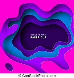 Paper cut abstract background with paper cut shapes. Template design layout for business presentations, flyers, posters, invitations. Paper art in violet and blue colors. Colorful carving art. Vector