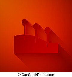 Paper cut Acupuncture therapy icon isolated on red background. Chinese medicine. Holistic pain management treatments. Paper art style. Vector