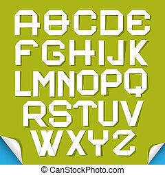 Paper Cut Alphabet Isolated on Green Background
