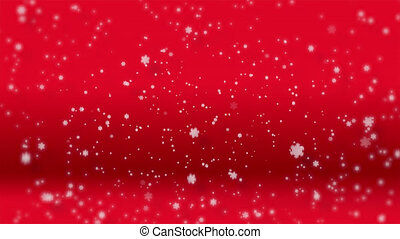 Paper cut and craft of winter Snow, Falling snow isolated on red background used for composing, Large and small Storm snowflakes, seamless loop with Merry Christmas weather background.Holiday season.