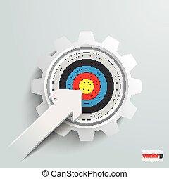 Paper Cut Arrow Colored Target Gear