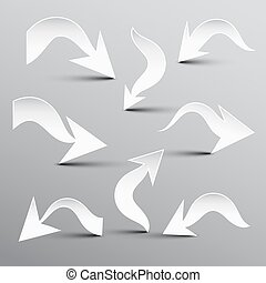 Paper Cut Arrow. Vector Arrows Set.