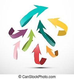 Paper Cut Arrows. Up Arrow Symbol.