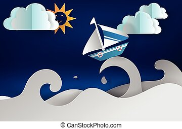 paper cut art of Boat sailing in the sea