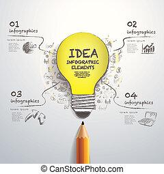 paper-cut, blyertspenna, skapande, infographics, lök, hand-draw