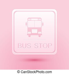 Paper cut Bus stop icon isolated on pink background. Paper art style. Vector