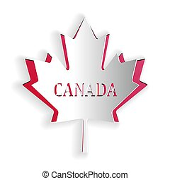 Paper cut Canadian maple leaf with city name Canada icon isolated on white background. Paper art style. Vector