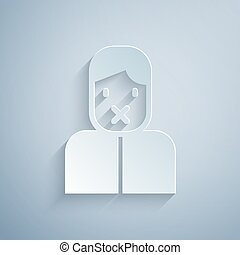 Paper cut Censor and freedom of speech concept icon isolated on grey background. Media prisoner and human rights concept. Tied mouth. Paper art style. Vector
