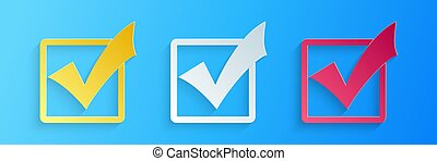 Paper cut Check mark in a box icon isolated on blue background. Tick symbol. Check list button sign. Paper art style. Vector