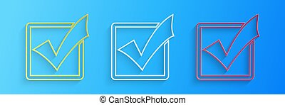 Paper cut Check mark in a box line icon isolated on blue background. Tick symbol. Check list button sign. Paper art style. Vector