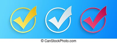 Paper cut Check mark in round icon isolated on blue background. Check list button sign. Paper art style. Vector