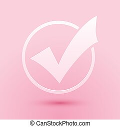 Paper cut Check mark in round icon isolated on pink background. Check list button sign. Paper art style. Vector