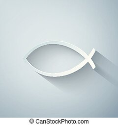 Paper cut Christian fish symbol icon isolated on grey background. Jesus fish symbol. Paper art style. Vector Illustration
