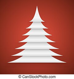 Paper cut Christmas tree on red background.