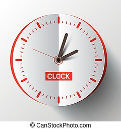 Paper Cut Clock Face Vector Illustration