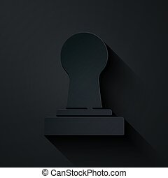Paper cut Coffee tamper icon isolated on black background. Paper art style. Vector.