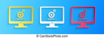 Paper cut Computer monitor update process with gear progress and loading bar icon isolated on blue background. Adjusting, setting, maintenance, repair. Paper art style. Vector