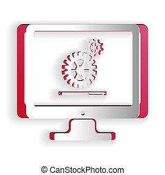 Paper cut Computer monitor update process with gear progress and loading bar icon isolated on white background. Adjusting, setting, maintenance, repair. Paper art style. Vector