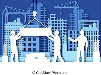 Paper cut craft style construction site with tower cranes, builder workers silhouettes, vector illustration.