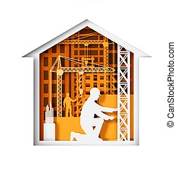 Paper cut craft style house with construction workers, tower cranes, buildings silhouettes, vector illustration.