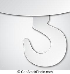 Paper cut crane hook. Vector illustration.