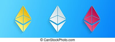 Paper cut Cryptocurrency coin Ethereum ETH icon isolated on blue background. Digital currency. Altcoin symbol. Blockchain based secure crypto currency. Paper art style. Vector.