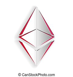 Paper cut Cryptocurrency coin Ethereum ETH icon isolated on white background. Digital currency. Altcoin symbol. Blockchain based secure crypto currency. Paper art style. Vector.