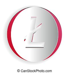 Paper cut Cryptocurrency coin Litecoin LTC icon isolated on white background. Digital currency. Altcoin symbol. Blockchain based secure crypto currency. Paper art style. Vector.
