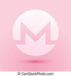 Paper cut Cryptocurrency coin Monero XMR icon isolated on pink background. Digital currency. Altcoin symbol. Blockchain based secure crypto currency. Paper art style. Vector.
