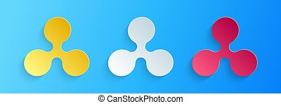 Paper cut Cryptocurrency coin Ripple XRP icon isolated on blue background. Digital currency. Altcoin symbol. Blockchain based secure crypto currency. Paper art style. Vector.