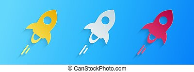 Paper cut Cryptocurrency coin Stellar XLM icon isolated on blue background. Digital currency. Altcoin symbol. Blockchain based secure crypto currency. Paper art style. Vector.
