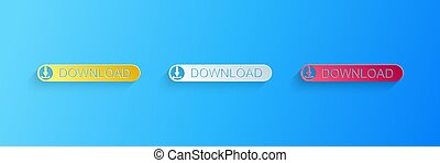 Paper cut Download button with arrow icon isolated on blue background. Upload button. Load symbol. Paper art style. Vector