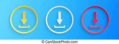 Paper cut Download icon isolated on blue background. Upload button. Load symbol. Arrow point to down. Paper art style. Vector