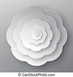 Paper Cut Flower. Vector Grey Abstract Plant.