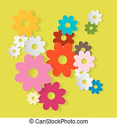 Paper Cut Flowers. Colorful Paper Vector Flower Set on Green Background. Spring or Summer Cover Design Pattern.