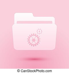 Paper cut Folder settings with gears icon isolated on pink background. Concept of software update, transfer protocol, router, teamwork tool management. Paper art style. Vector