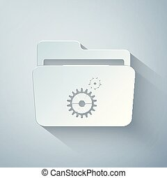 Paper cut Folder settings with gears icon on grey background. Concept of software update, transfer protocol, router, teamwork tool management, copy process. Paper art style. Vector Illustration