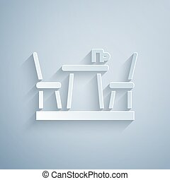 Paper cut French cafe icon isolated on grey background. Street cafe. Table and chairs. Paper art style. Vector