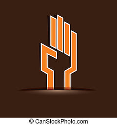 paper cut hand symbol