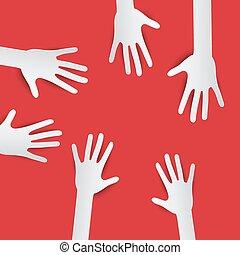 Paper Cut Hands. Vector Hands on Red Background. Hands Set.