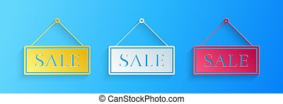 Paper cut Hanging sign with text Sale icon isolated on blue background. Paper art style. Vector