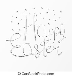 Paper cut Happy Easter festive text