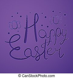 Paper cut Happy Easter text