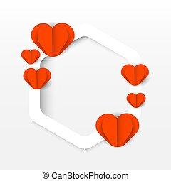 Paper cut heart and white square frame vector eps 10